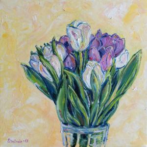 056. Fialovobile Tulipany